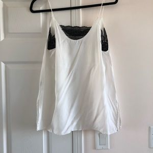Zara Tops - Zara White Straps Top with Black Lace Trim